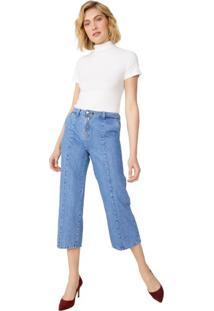 Calça Jeans Wide Com Zíper Frente