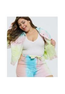 Jaqueta Plus Size Feminina Sarja Tie Dye