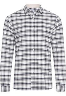 Camisa Masculina Oxford Manga Longa - Off White E Preto