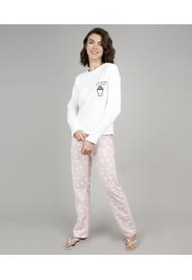 Pijama De Inverno Feminino Milk E Cookie Com Bordado Em Fleece Manga Longa Off White