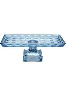 Prato Diamant Para Bolo Com Pã©- Cristal & Azul- 17,5Rojemac