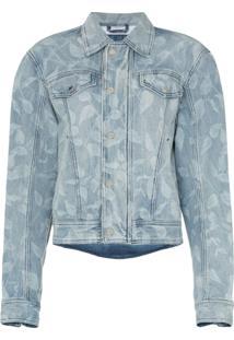 Gmbh Jaqueta Jeans Com Estampa De Folhas - Azul