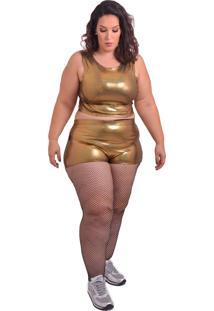 Bermuda Amme Hotpant Dourada Plus - Dourado - Feminino - Elastano - Dafiti