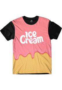 Camiseta Bsc Pink Ice Cream Sublimada Preto