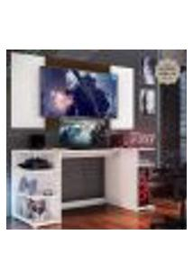"""Mesa Gamer Com Painel E Suporte Tv 65"""" Guilda Multimóveis Branco/Madeirado"""