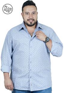 Camisa Plus Size Bigshirts Manga Longa Estampa - Galho Cinza