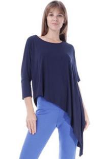 Blusa De Bico Amazonia Vital Assimétrica Malha Feminina - Feminino-Azul