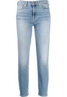 7 For All Mankind Calça Jeans Cropped Com Lavagem - Azul