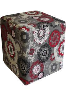 Puff D'Rossi Decorativo Dado Quadrado Estampado Floral Vermelho D32