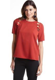 Blusa Wool Line Tricot Detalhe Gorgurão Feminina - Feminino-Vermelho Escuro