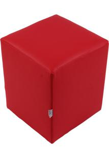 Puff Cubo Pop Corino Vermelho