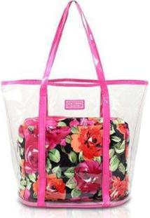 Bolsa Jacki Design 2 Em 1 Tropicana Feminina - Feminino-Pink+Preto