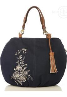 Bolsa Shop Blue Bags Bordada Lona Feminina - Feminino-Azul