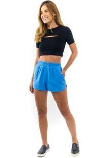 Short Bicolor Feminino - Feminino-Azul
