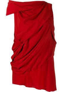 Rick Owens Blusa Assimétrica Drapeada - Vermelho
