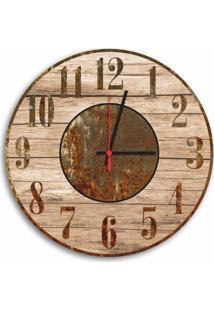 Relógio De Parede Decorativo Vintage Madeira E Ferrugem 35Cm Médio