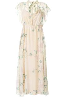 Redvalentino Vestido Com Poás E Estampa Floral - Amarelo