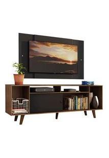 Rack Madesa Cancun E Painel Para Tv Até 58 Polegadas Com Pés - Preto/Rustic 7Kd8 Cor:Preto/Rustic