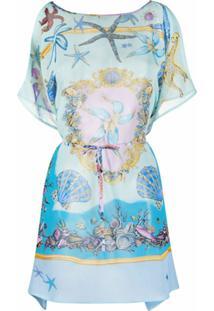 Versace Blusa Com Drapeado E Estampa De Estrelo Do Mar - Azul