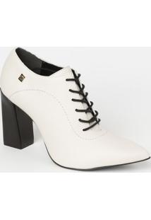 Ankle Boot Em Couro Com Amarraã§Ã£O - Off White & Preta