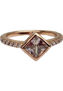 Anel Papillô Joias Solitário Triangular, Em Ouro Rosé 18K