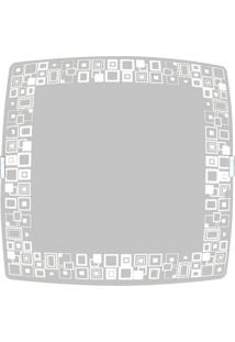 Plafon Sobrepor Quadrado Grande 2 Lâmpadas E27 Mosaico Branco