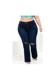 Calça Plus Size Flare Alleppo Jeans Kamily Com Rasgo No Joelho