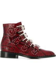 Givenchy Ankle Boot Com Efeito De Pele De Cobra - Vermelho