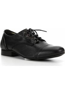 Oxford Couro Shoestock Basic Confort Feminina - Feminino-Preto