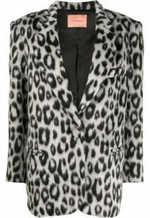 Andamane Blazer Com Estampa De Leopardo - Cinza