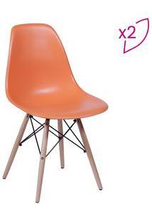 Or Design Jogo De Cadeiras Eames Dkr Laranja & Madeira 2Pã§S