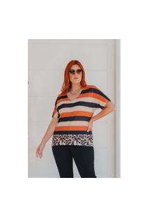 T-Shirt Listrada Almaria Plus Size Rery Decote V Multicolorido