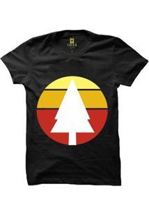 Camiseta Manga Curta Joss Wood Sunset Masculina - Masculino-Preto