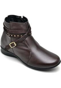 Bota Couro D&R Shoes Feminina - Feminino-Café