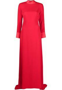 Parlor Vestido Longo Com Decote Posterior - Vermelho