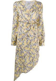 Art Dealer Vestido De Seda Com Estampa Floral - Amarelo