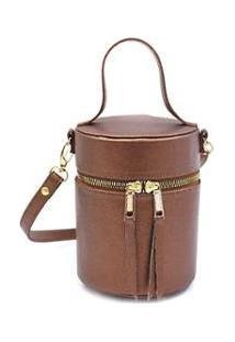 Bolsa Mini Bag Feminina Cilindro Transversal Maria Milão - Feminino-Café