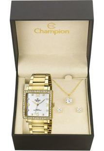 Kit Relógio Champion Feminino Passion - Ch25696W - Feminino-Dourado