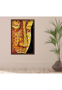 Quadro Love Decor Com Moldura Buddha Em Mosaico Madeira Escura Médio