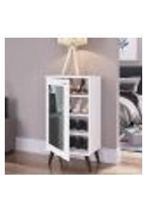 Sapateira Retrô Com Espelho 1 Porta 3 Prateleiras Branco Lilies Móveis