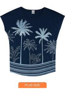 Blusa Azul Marinho Coqueiros Plus