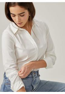 Amaro Feminino Camisa Algodão Tradicional Esntl, Off-White