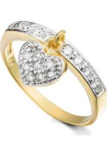 Anel Pingente De Coracao Semijoia Banho De Ouro 18K Cravejado - Feminino-Dourado