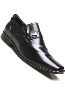 Sapato Social Supertech Couro Estonado Calvest - Masculino-Preto