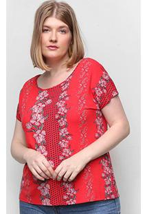 Blusa Wee! Plus Size Básica Geomértica Feminina - Feminino-Floral