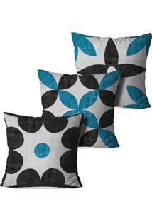 Kit 3 Capas Para Almofadas Decorativas Chumbo E Azul 35X35Cm