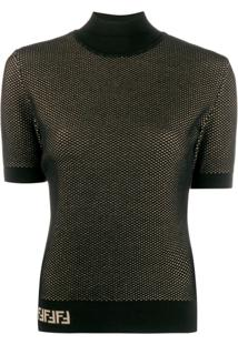 Fendi Double-Layer Mesh-Knit Top - Preto