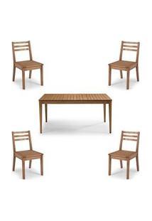 Conjunto Dubai Mesa + Cadeiras Assento Madeira - 60477 Preto