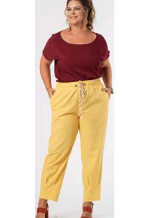 Calça Almaria Plus Size Munny Cós Cordão Amarelo
