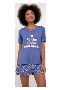 Pijama Manga Curta Estampa Coração